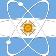 Argentina flag with nuclear symbol.